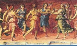Painting of Apollo and the Muses singing and dancing